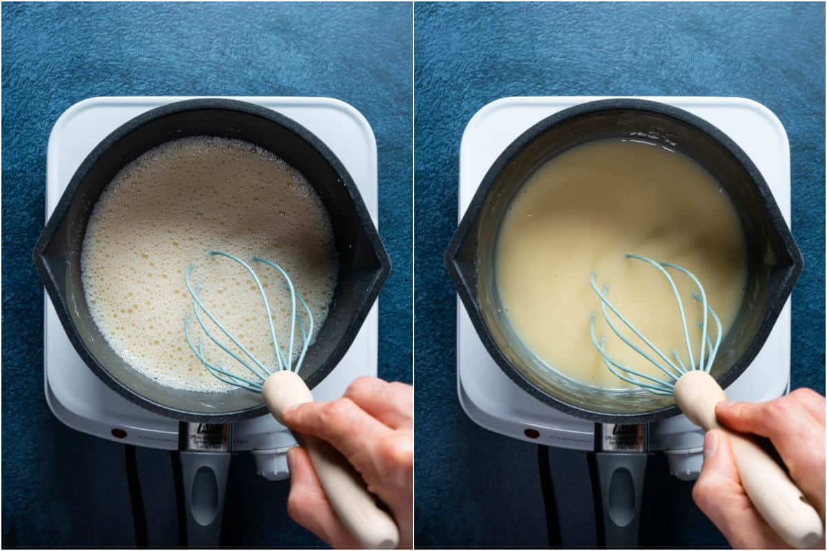 Two photo collage showing pudding mix heating in saucepan and being whisked as it thickens.
