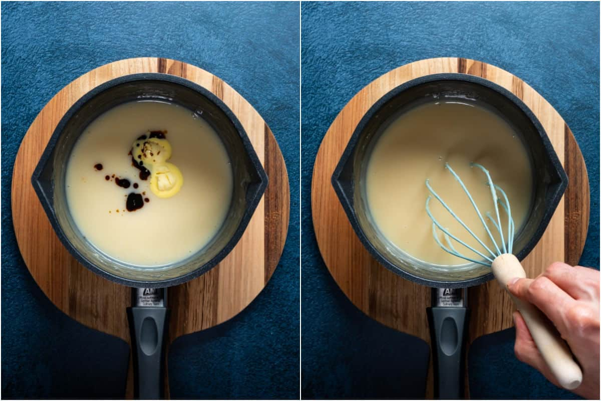 Two photo collage showing vegan butter and vanilla extract added to saucepan and whisked in.