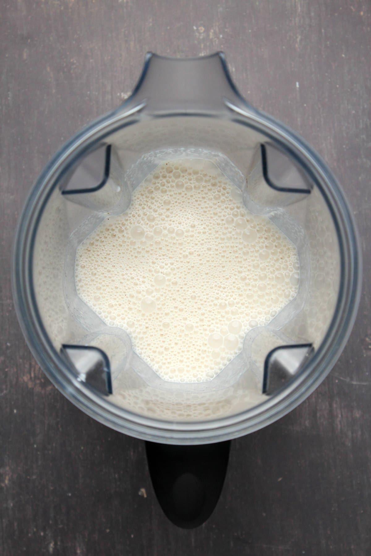 Blended mixture in a blended jug.