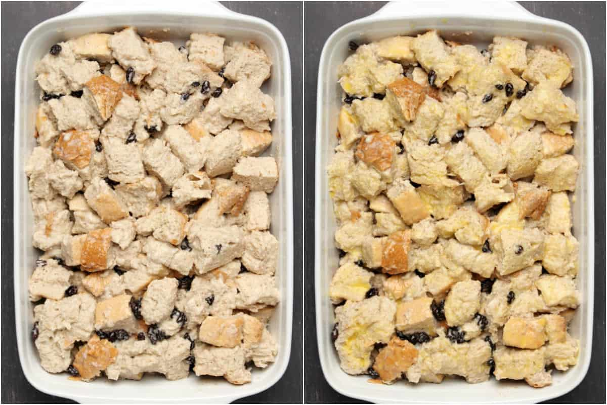 Two photo collage showing bread pudding in a baking dish and then brushed with butter.