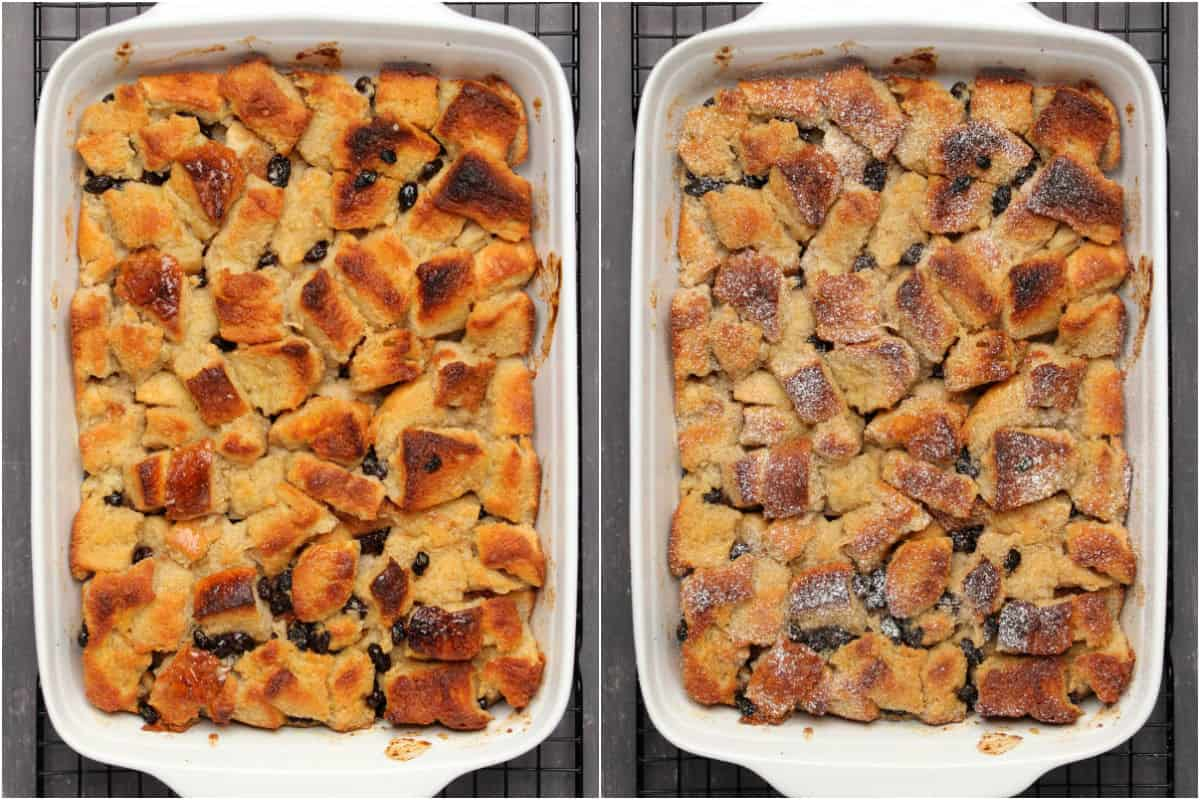 Two photo collage showing baked bread pudding in a white dish and then lightly topped with powdered sugar.