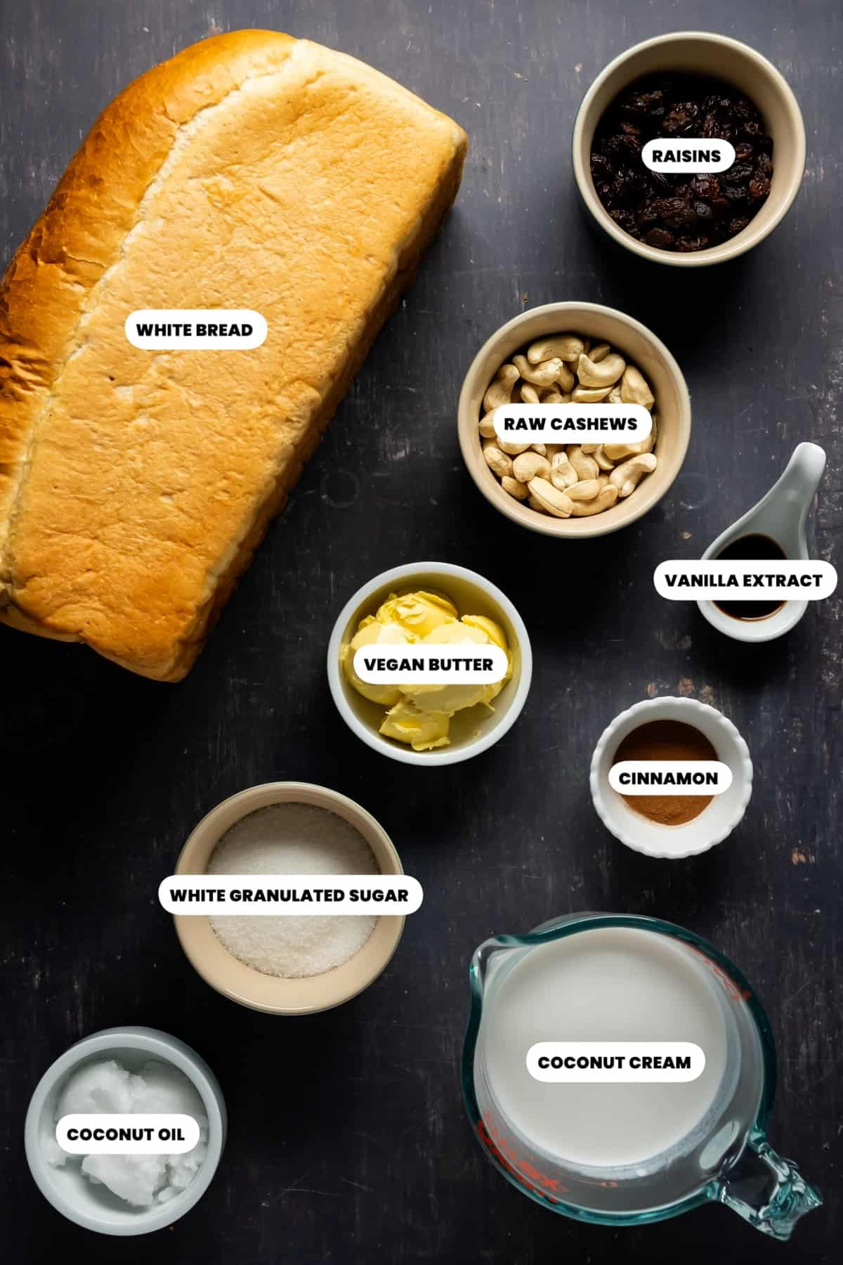 Photo of the ingredients needed to make vegan bread pudding.
