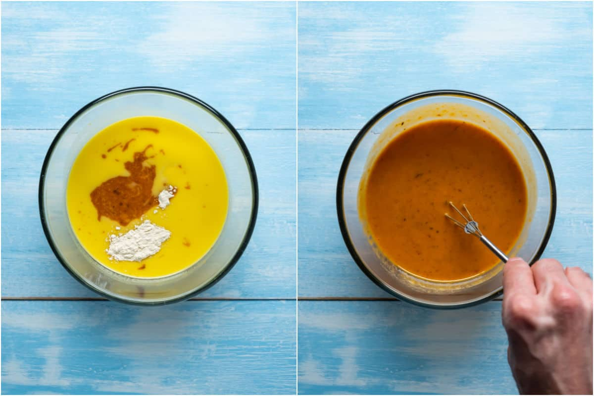 Two photo collage showing ingredients added to mixing bowl and whisked into a sauce.