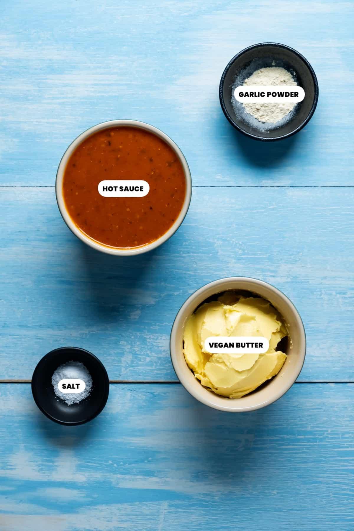 Photo of the ingredients needed to make vegan buffalo sauce.