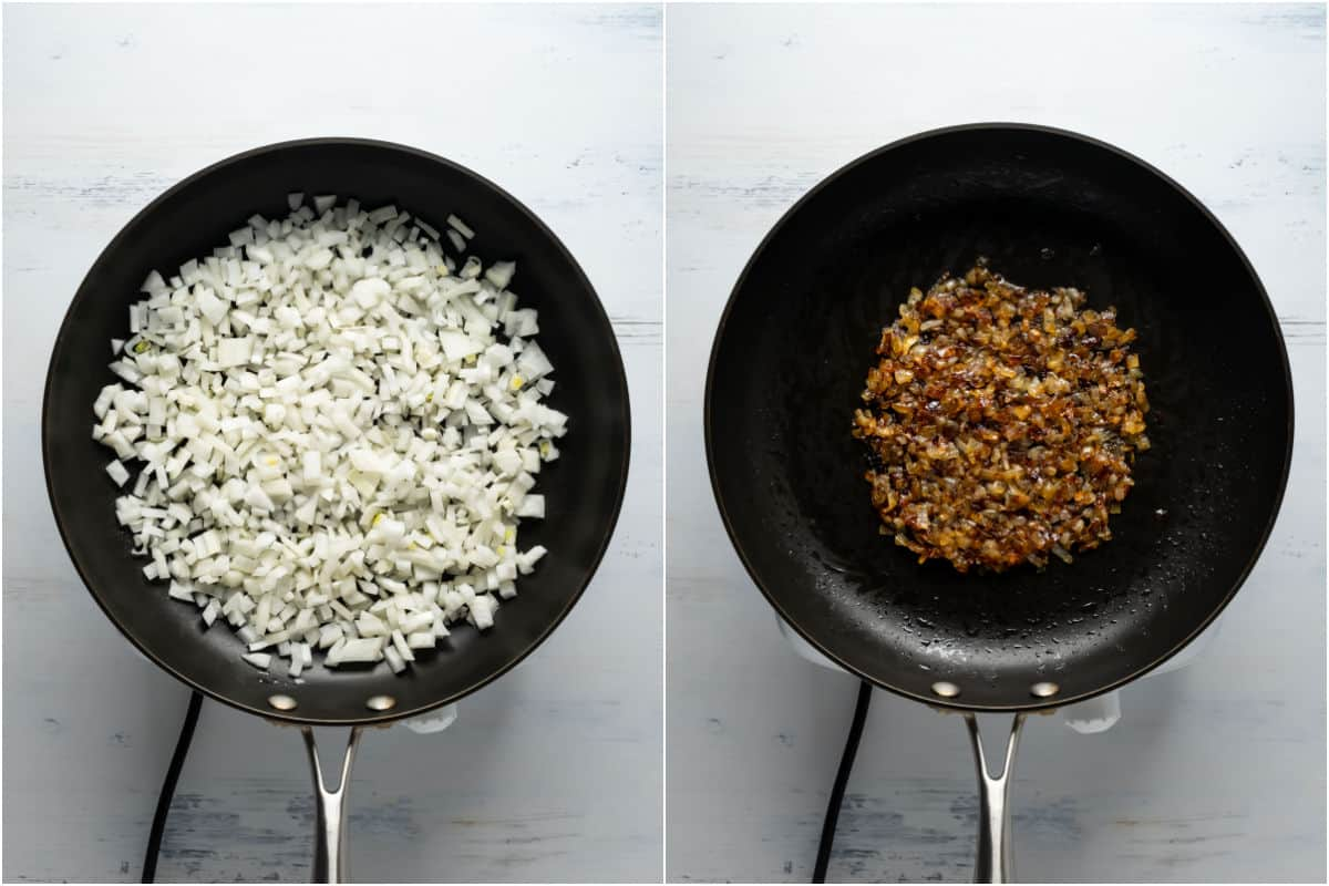 Two photo collage showing olive oil and chopped onions added to skillet and caramelized.