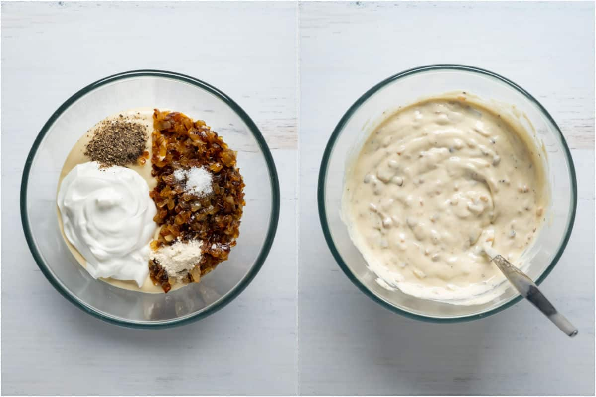 Two photo collage showing caramelized onions and other ingredients added to mixing bowl and mixed together.