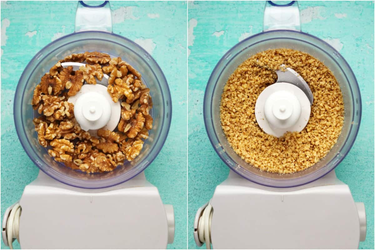 Two photo collage showing walnuts added to a food processor and processed into crumbles.