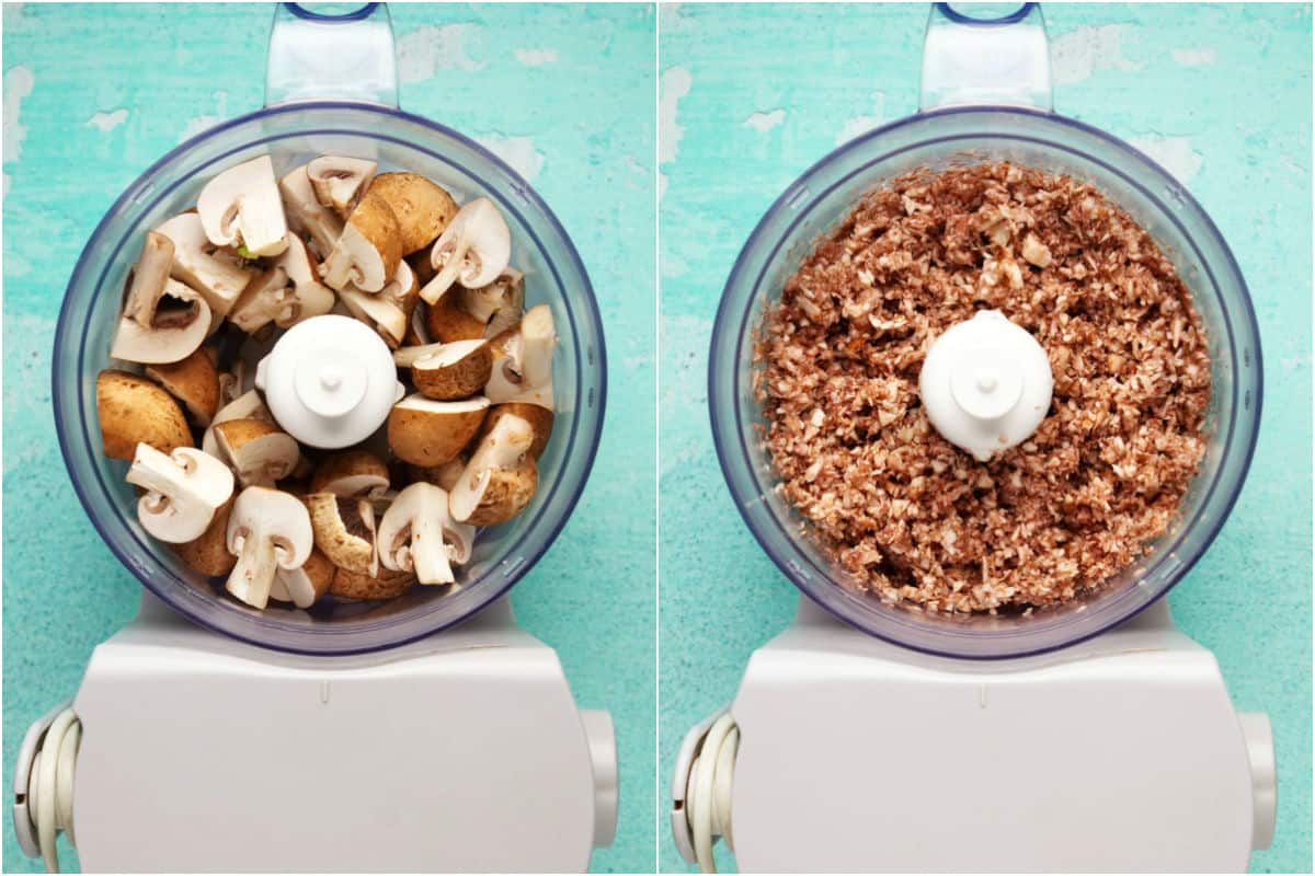 Two photo collage showing cremini mushrooms added to food processor and processed until finely chopped.