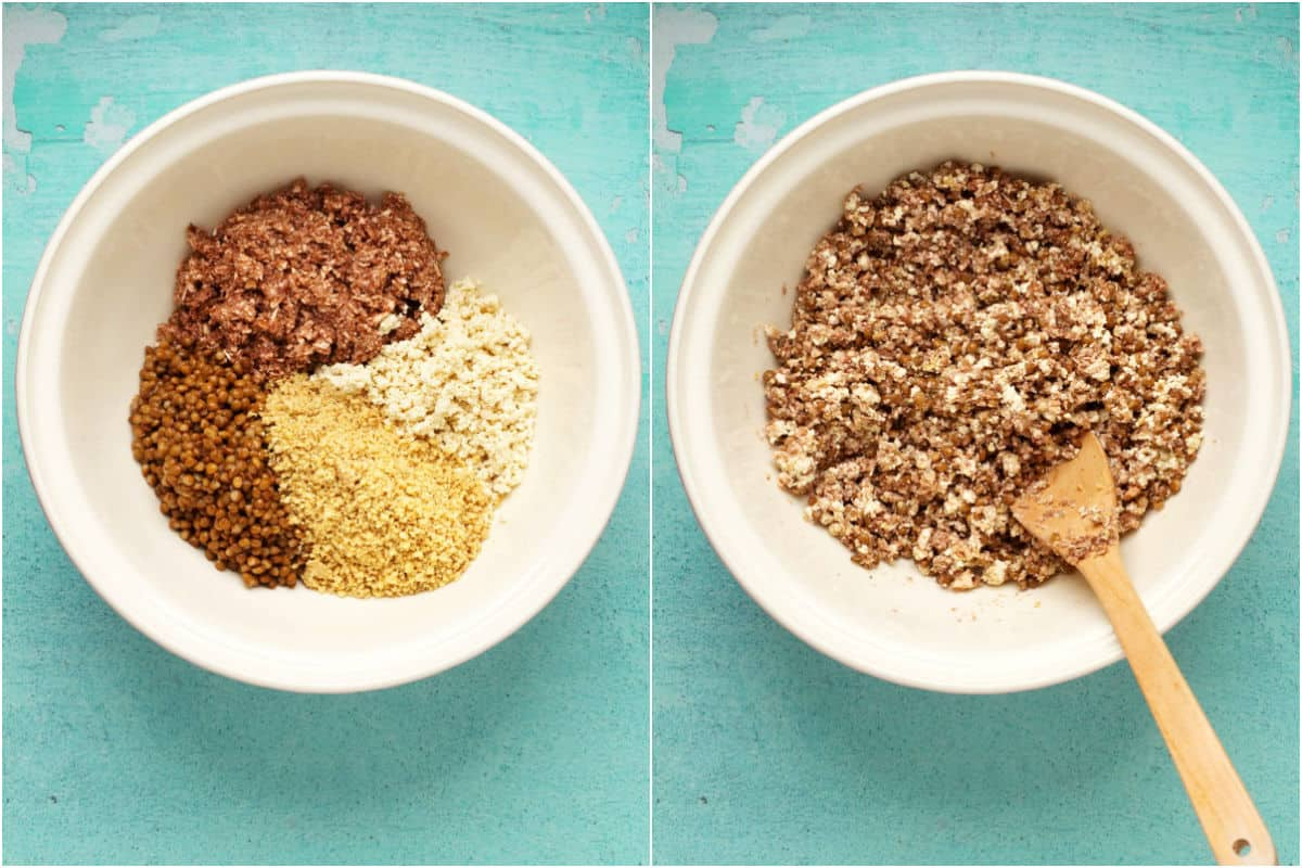 Two photo collage showing walnuts, mushrooms, lentils and tofu added to mixing bowl and mixed together.