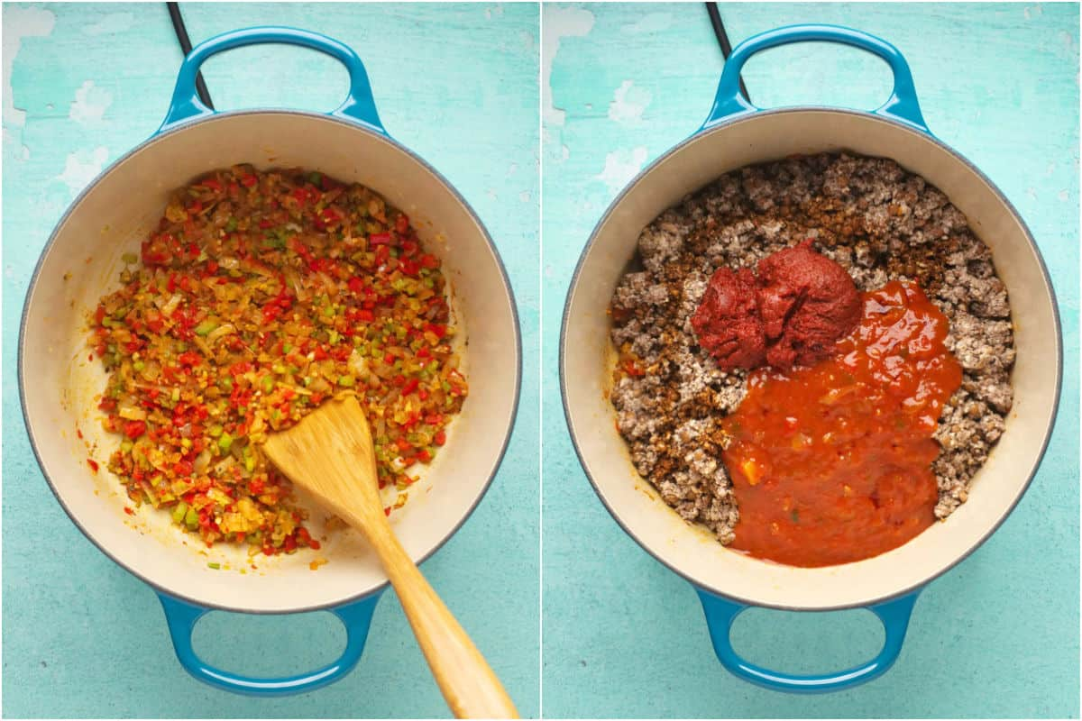 Two photo collage showing sautéed veggies in a pot and then mince mix, tomato paste and chopped tomato added to it.