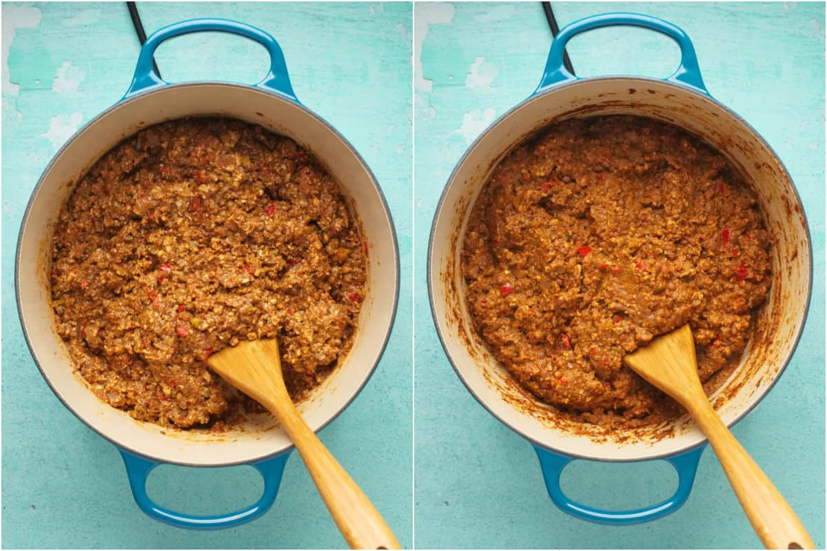 Two photo collage showing vegan mince cooking and then cooked.