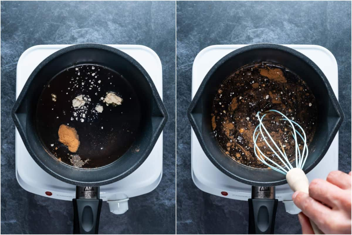 Two photo collage showing ingredients for worcestershire sauce added to saucepan and whisked together.