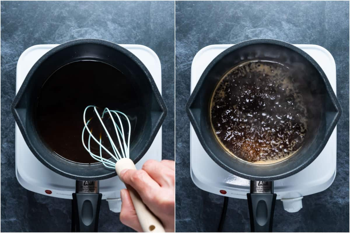 Two photo collage showing whisking the sauce and then bringing to a simmer.