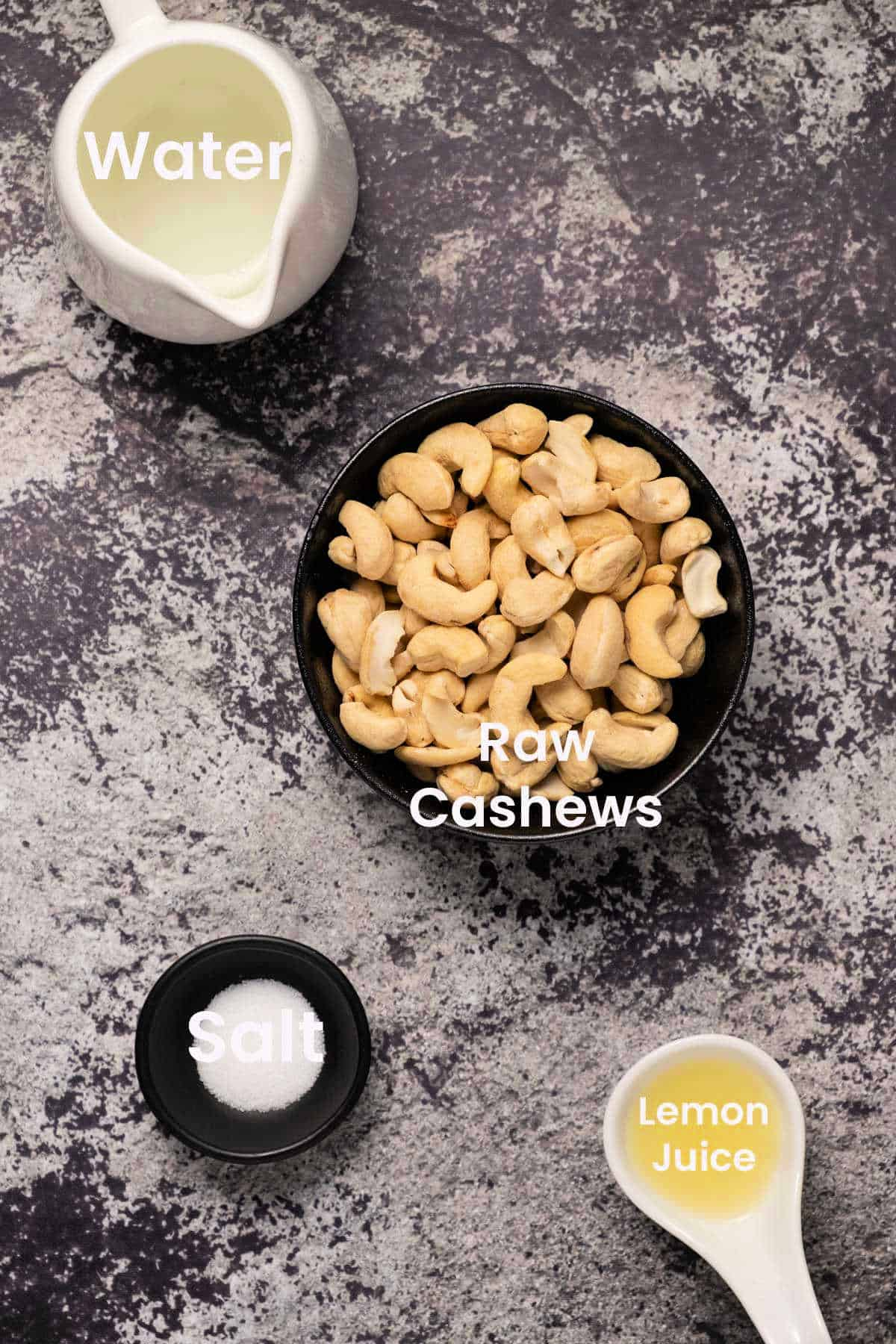 Photo of the ingredients needed to make cashew cream