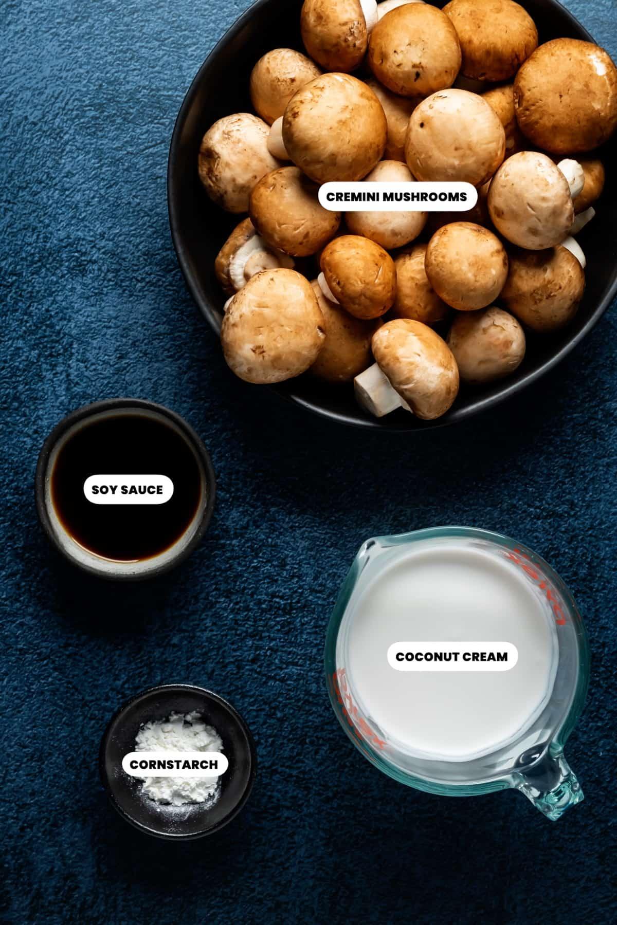 Ingredients to make mushroom sauce for tofu burgers.
