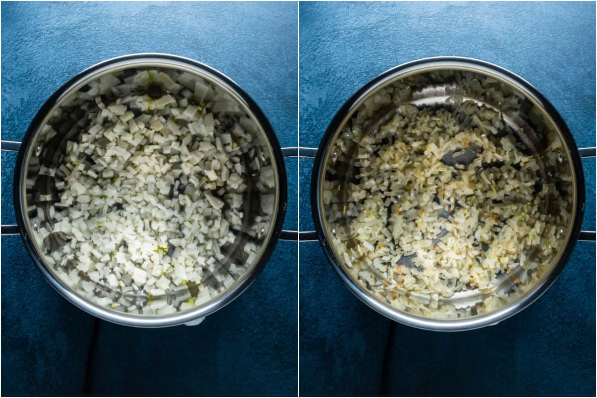 Two photo collage showing onions and sesame oil in a pot and sautéed.