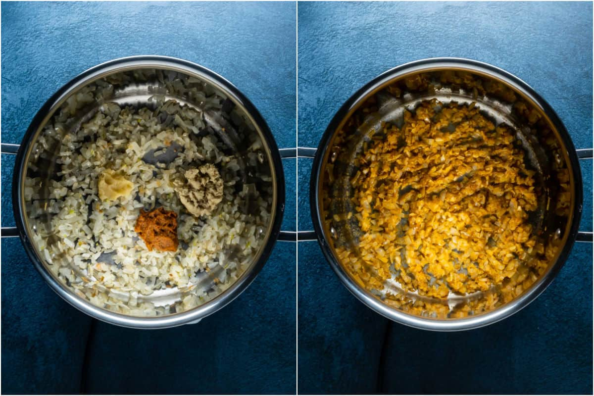 Two photo collage showing garlic, ginger and red curry paste added to onions and sautéed.