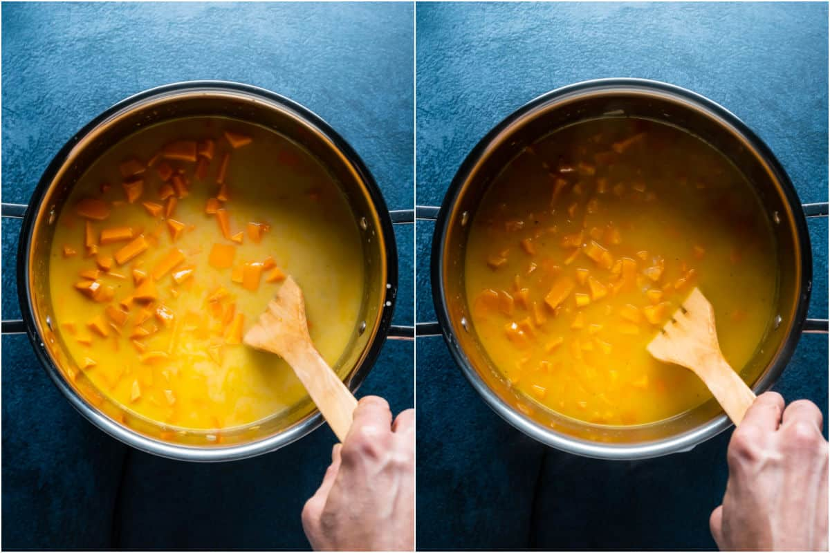 Two photo collage showing vegetable stock, coconut milk and soy sauce added to pot and then simmered until cooked.