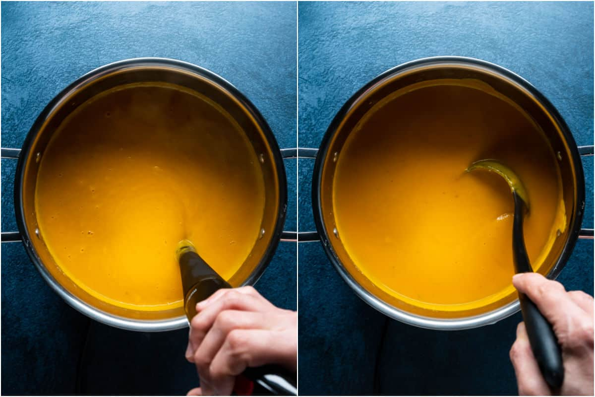 Two photo collage showing immersion blender blending the soup in the pot and then stirring in salt, pepper and coconut sugar.