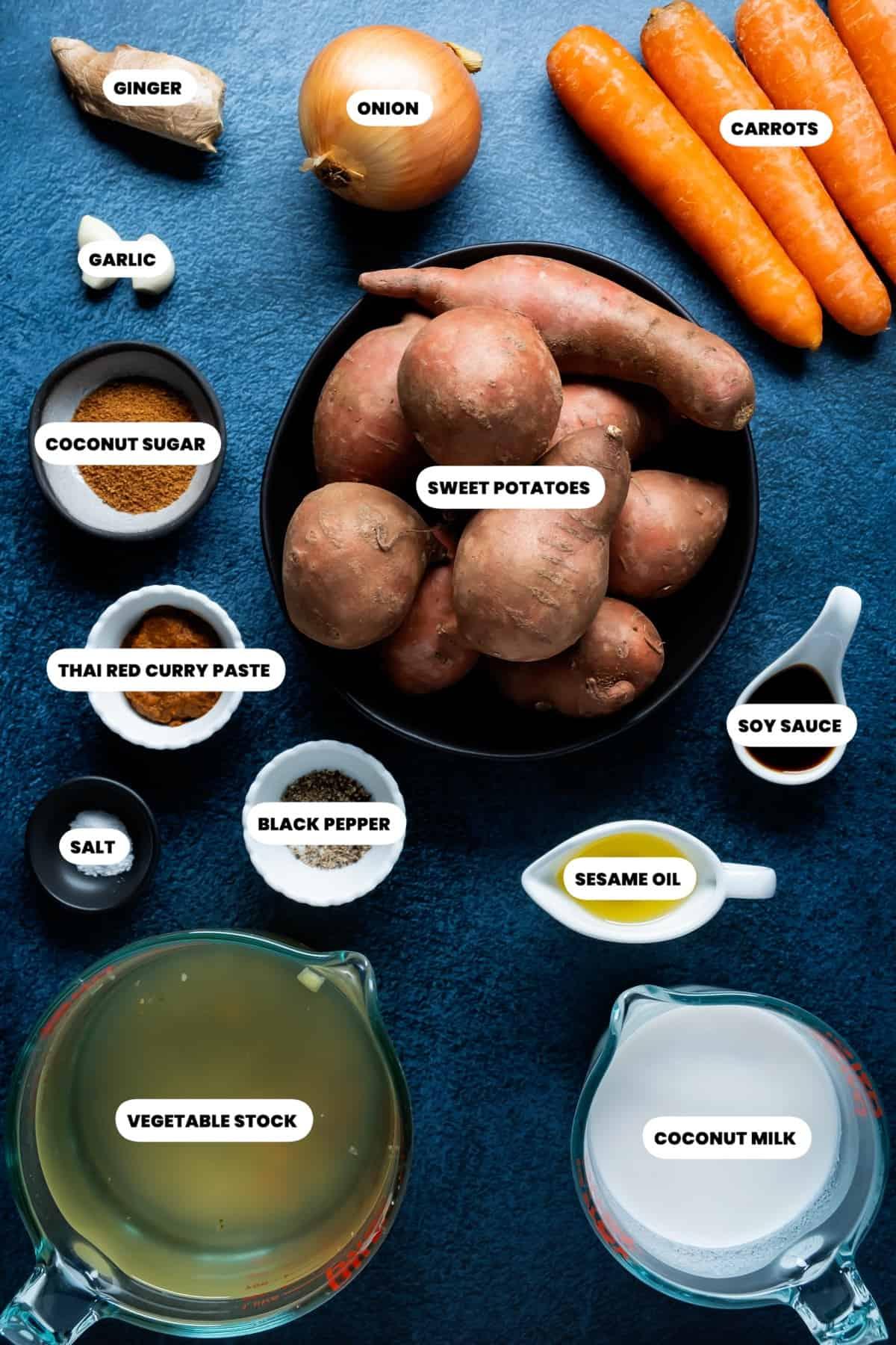 Photo of the ingredients needed to make Thai sweet potato soup.