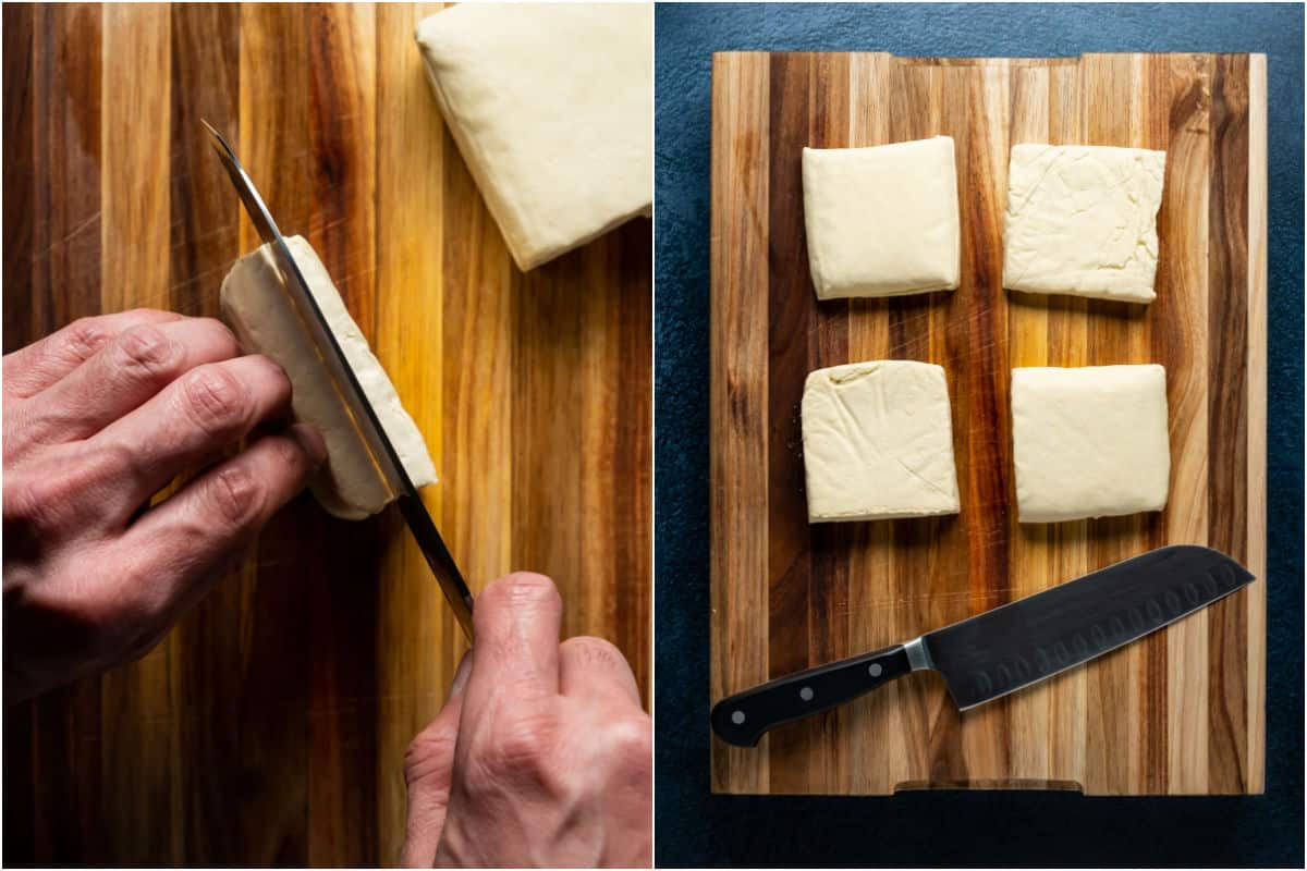Two photo collage showing cutting blocks of tofu in half to form square burgers.