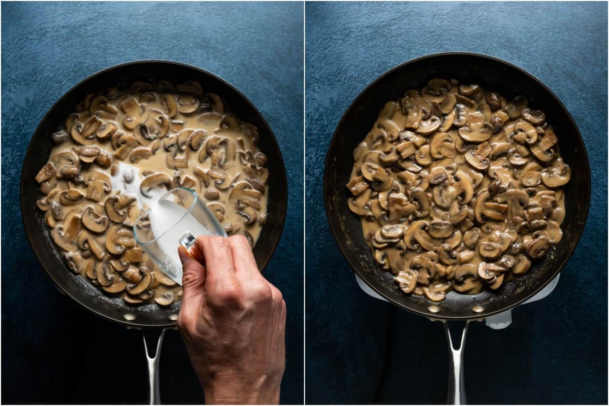 Two photo collage showing cornstarch slurry added to mushroom sauce and then the final sauce.