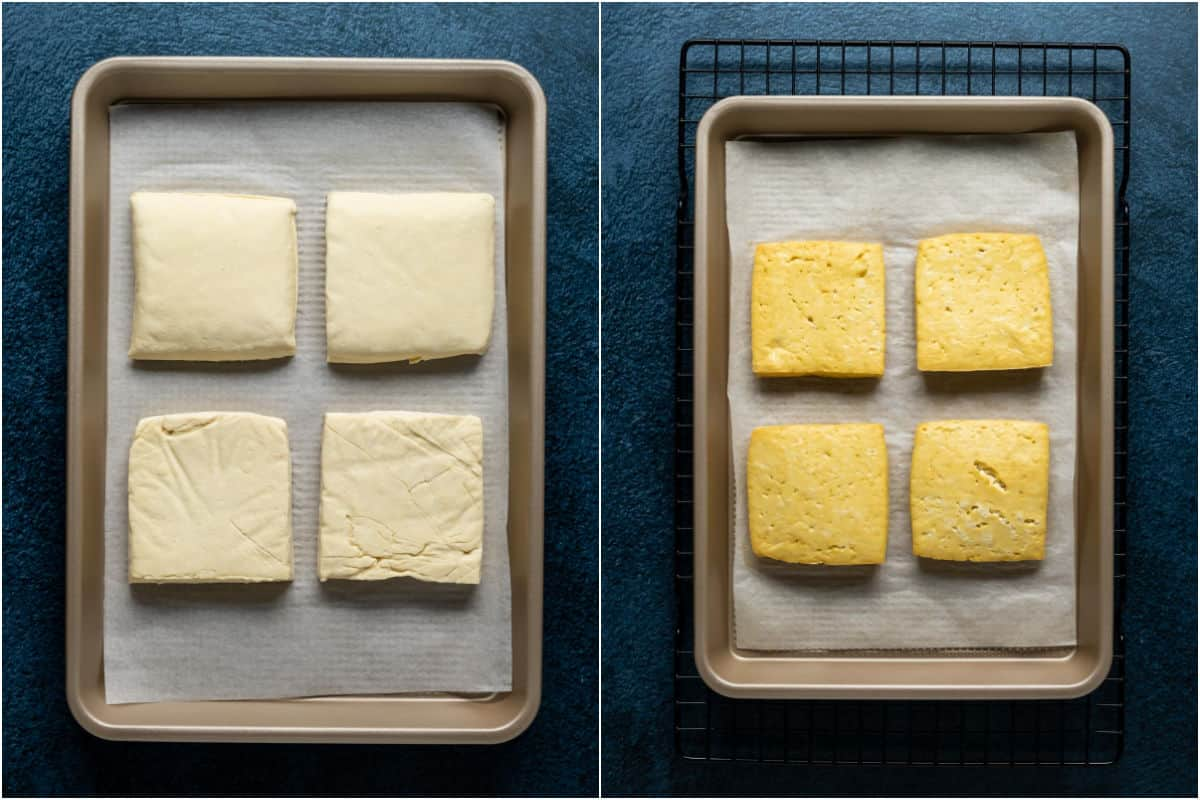 Two photo collage showing tofu burgers on a parchment lined tray and then after baking in them in the oven.