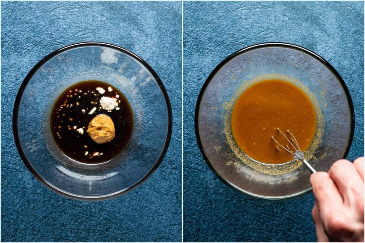 Two photo collage showing ingredients for the marinade sauce added to a bowl and whisked together.