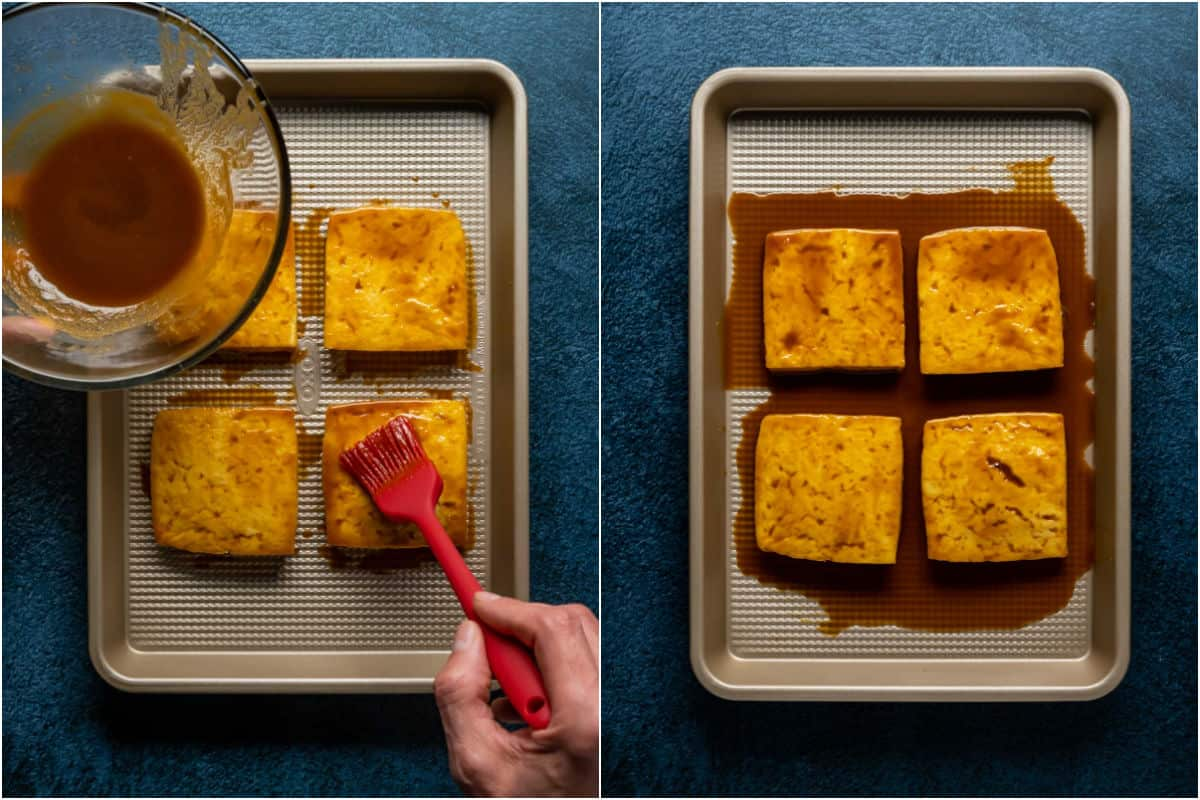 Two photo collage showing marinade sauce being brushed onto the tofu burgers and then marinading in the sauce.