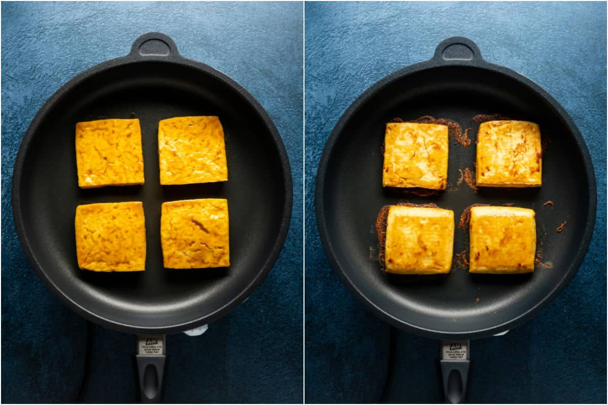 Two photo collage showing tofu burgers added to frying pan and then flipped.