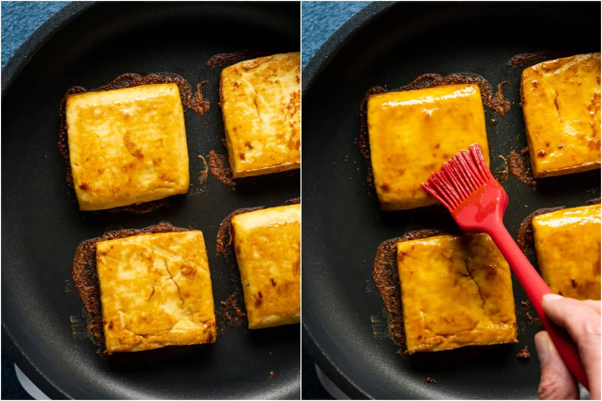 Two photo collage showing tofu burgers in the frying pan and then more marinade sauce being brushed onto them.