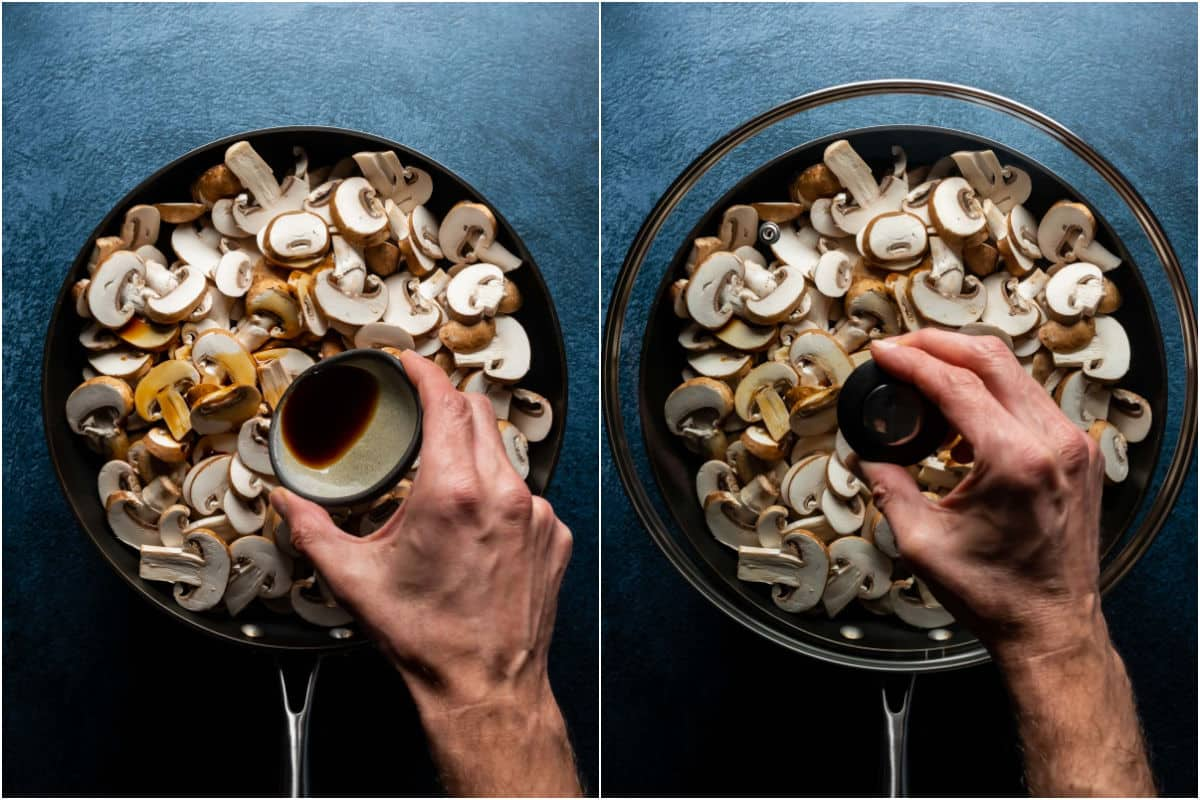 Two photo collage showing sliced mushrooms and soy sauce added to skillet and then covered with a lid.