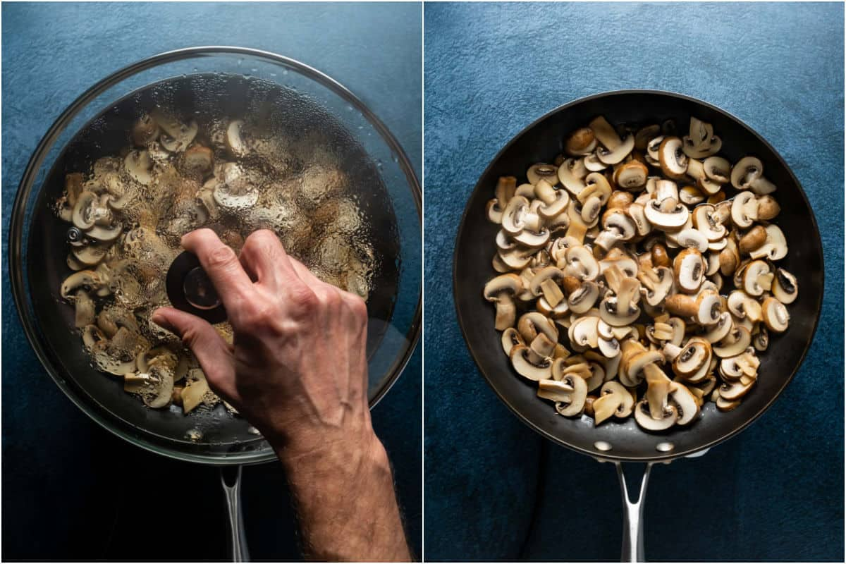 Two photo collage showing the lid lifted off the mushrooms and the softened mushrooms.