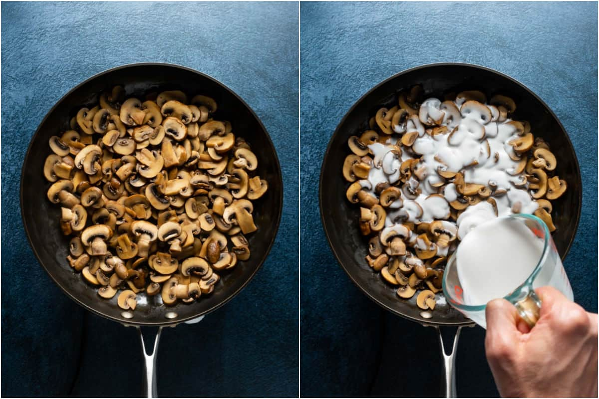 Two photo collage showing cooked mushrooms and then coconut cream poured over the top.