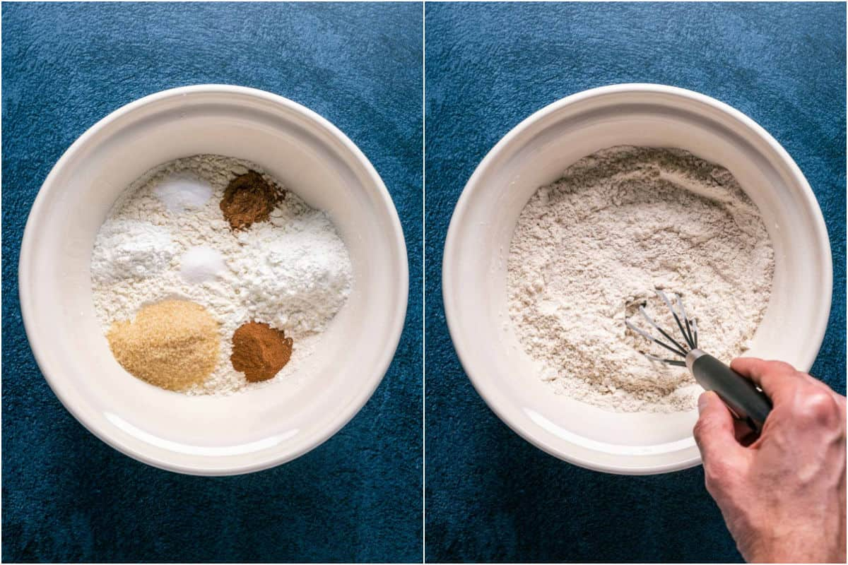Two photo collage showing dry ingredients added to mixing bowl and mixed together.
