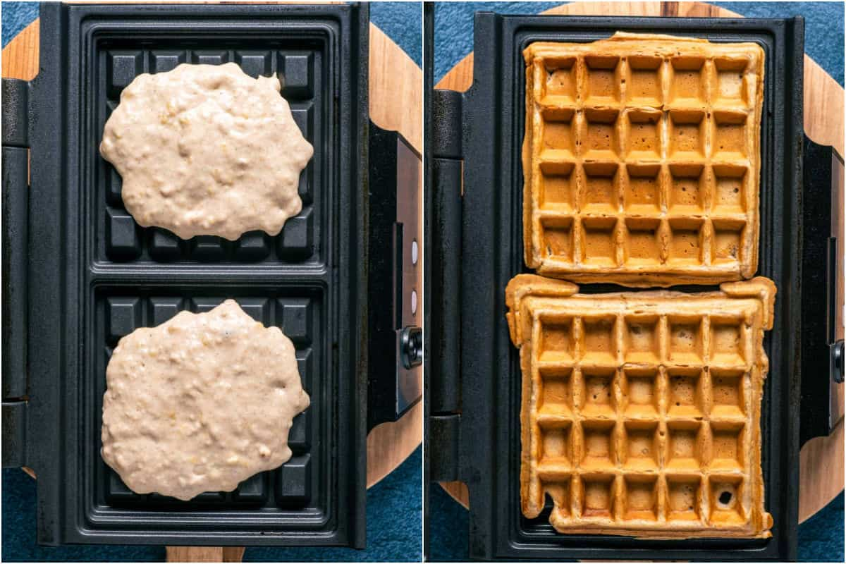 Two photo collage showing batter added to waffle maker and then the cooked waffles.