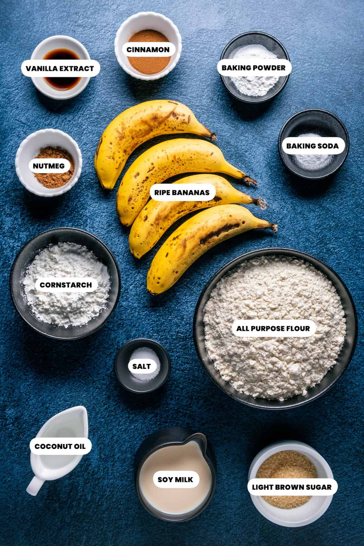 Photo of the ingredients needed to make vegan banana waffles.