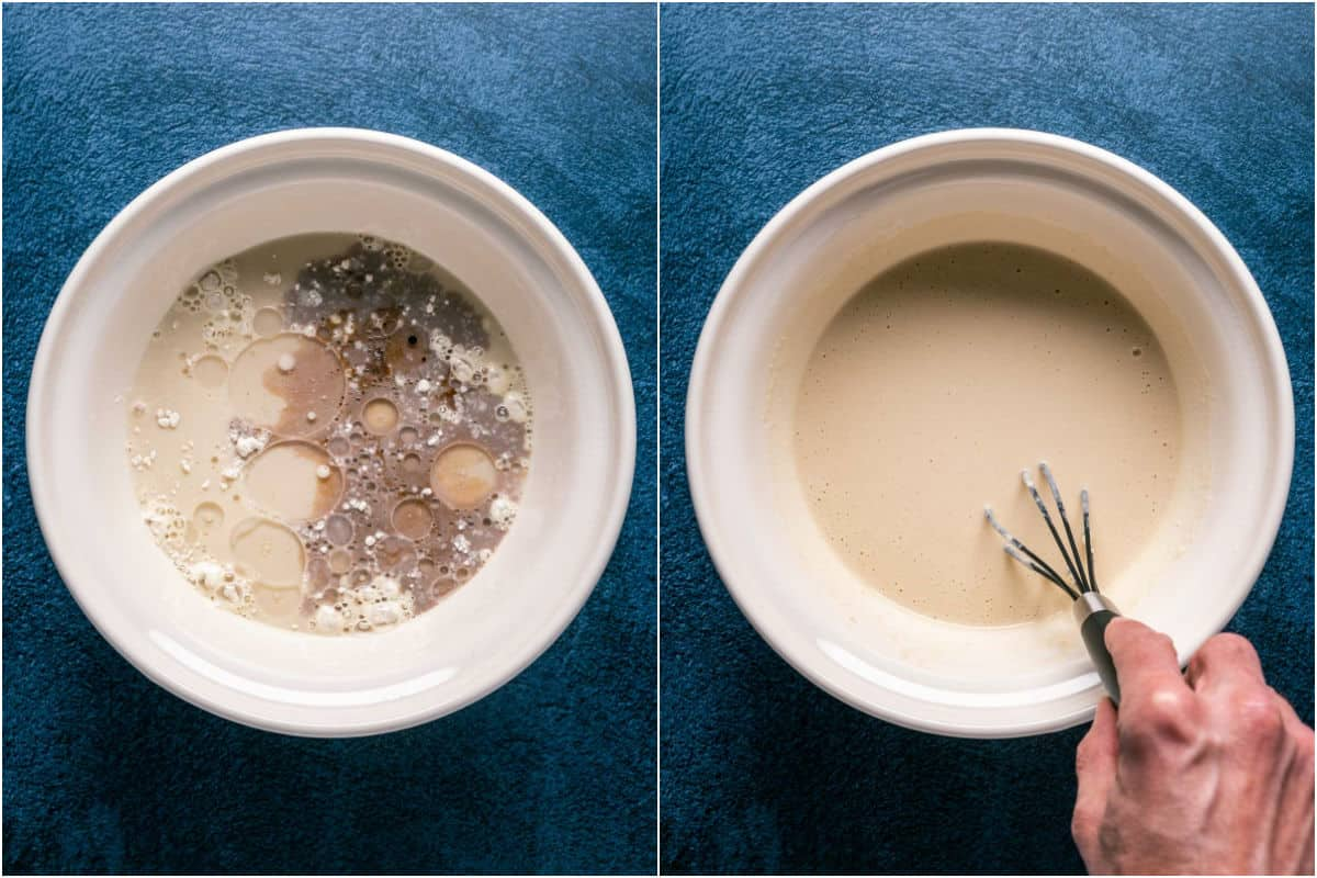 Two photo collage showing wet ingredients added to dry and mixed into a batter.