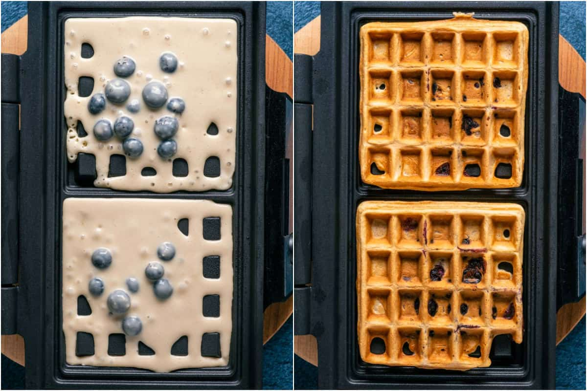 Two photo collage showing blueberry waffle batter added to waffle machine and baked into waffles.