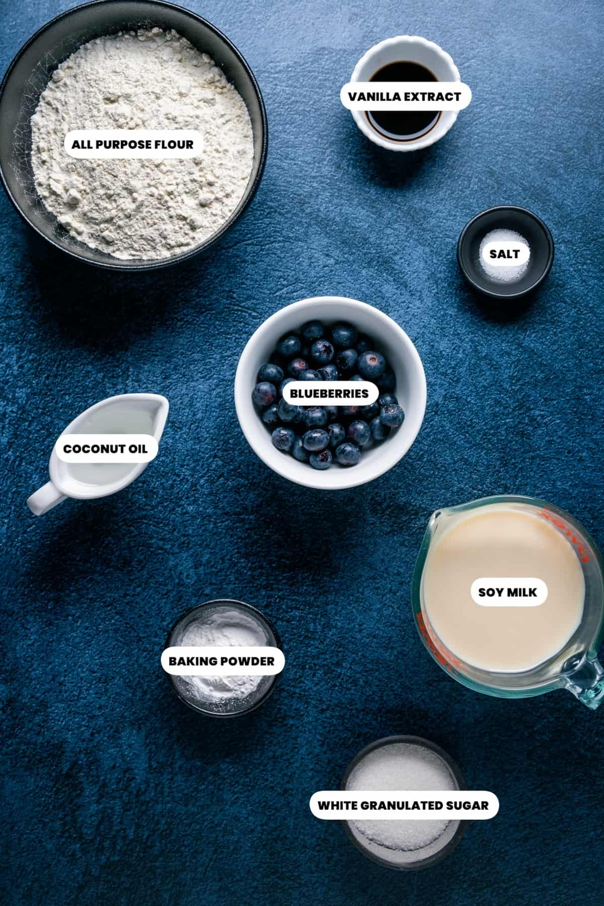 Photo of the ingredients needed to make vegan blueberry waffles.