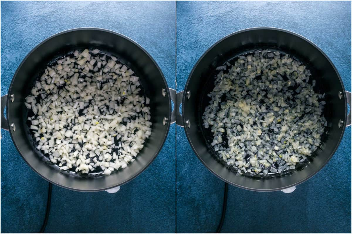 Two photo collage showing chopped onions added to pot with oil and sautéed.