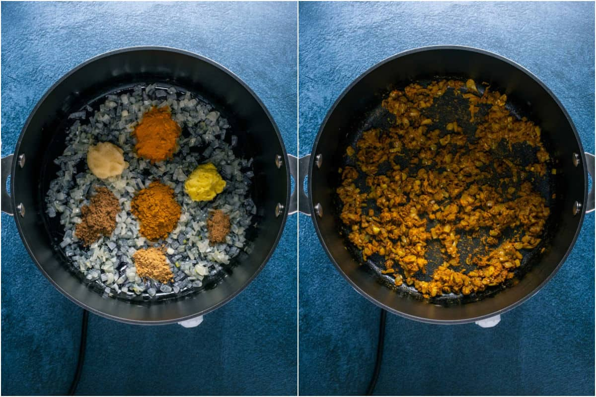 Two photo collage showing spices added to pot and sautéed with the onions.