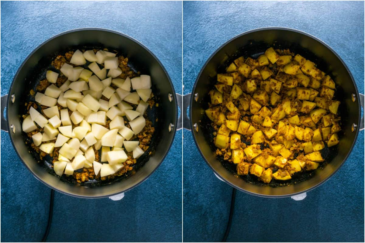 Two photo collage showing chopped potato added to pot and tossed with the spices.