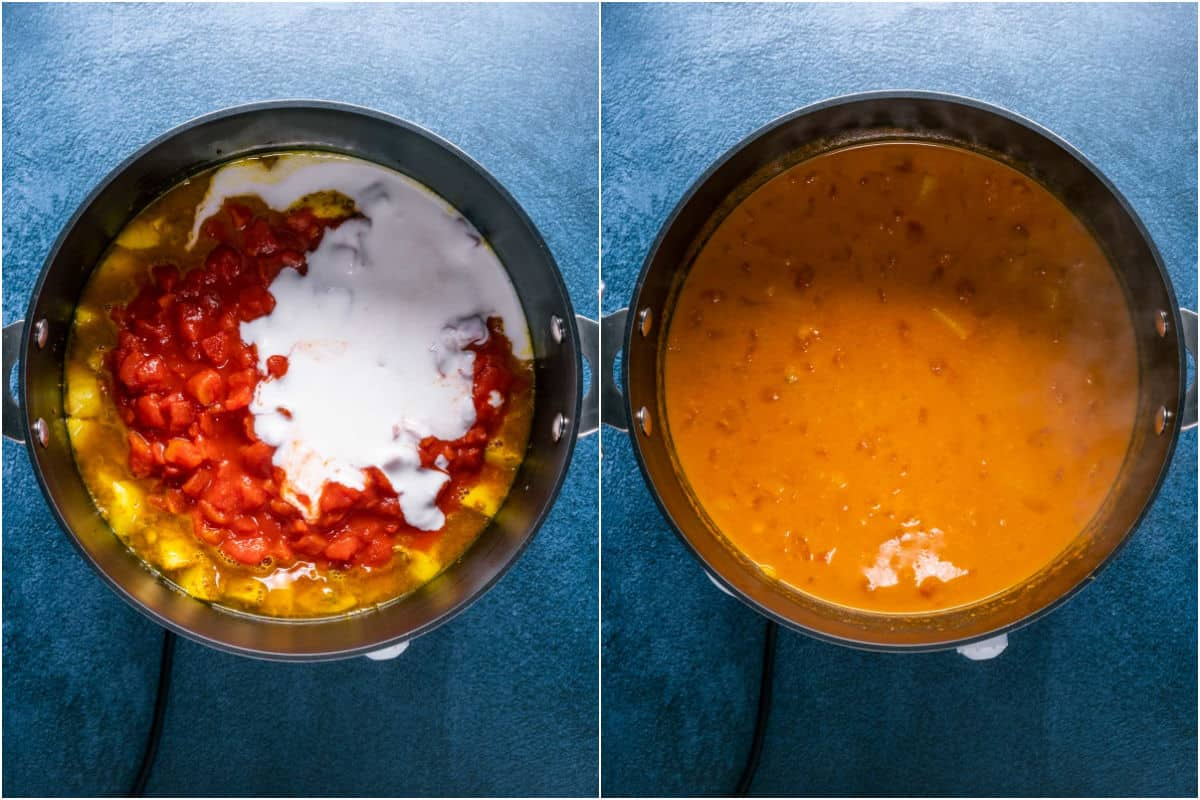 Two photo collage showing chopped tomato, vegetable stock and coconut cream added to pot and stirred in.