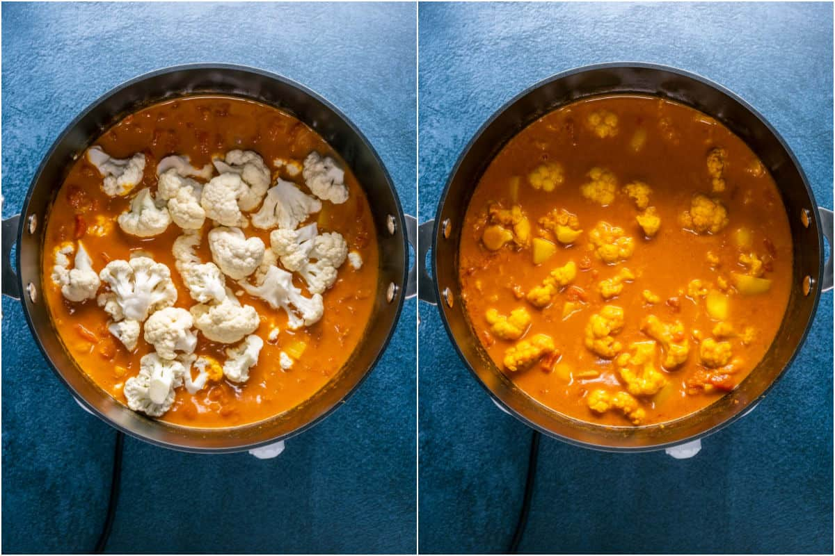 Two photo collage showing cauliflower florets added to pot and mixed in.