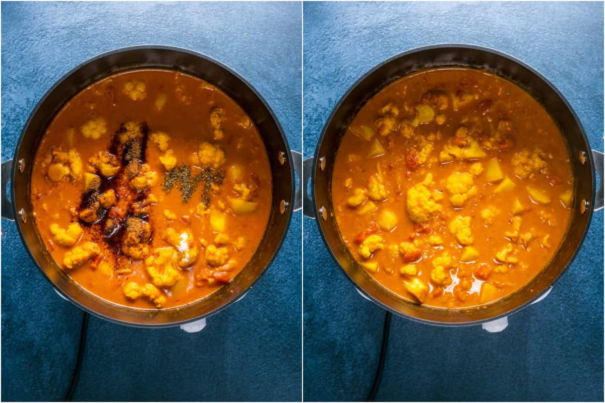 Two photo collage showing coconut sugar, salt and pepper added to pot and stirred in.