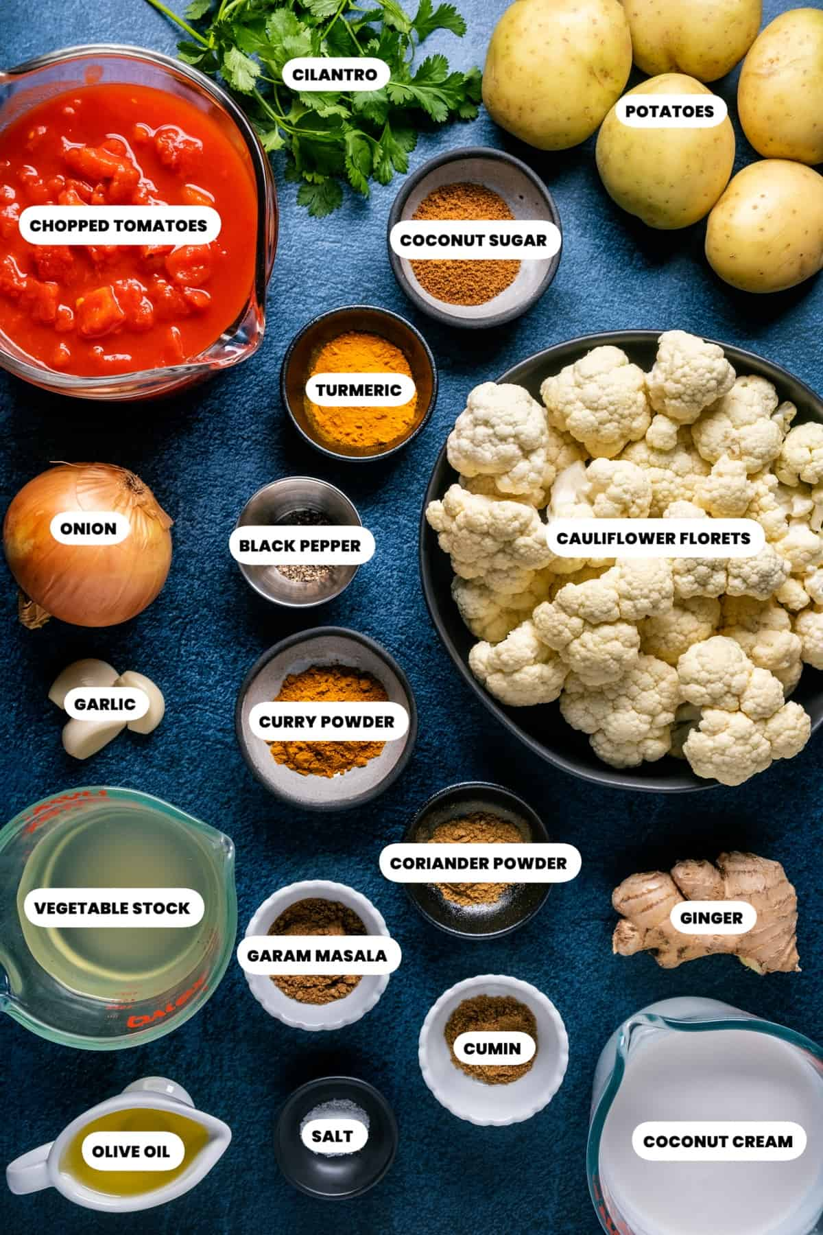Photo of the ingredients needed to make vegan cauliflower curry.