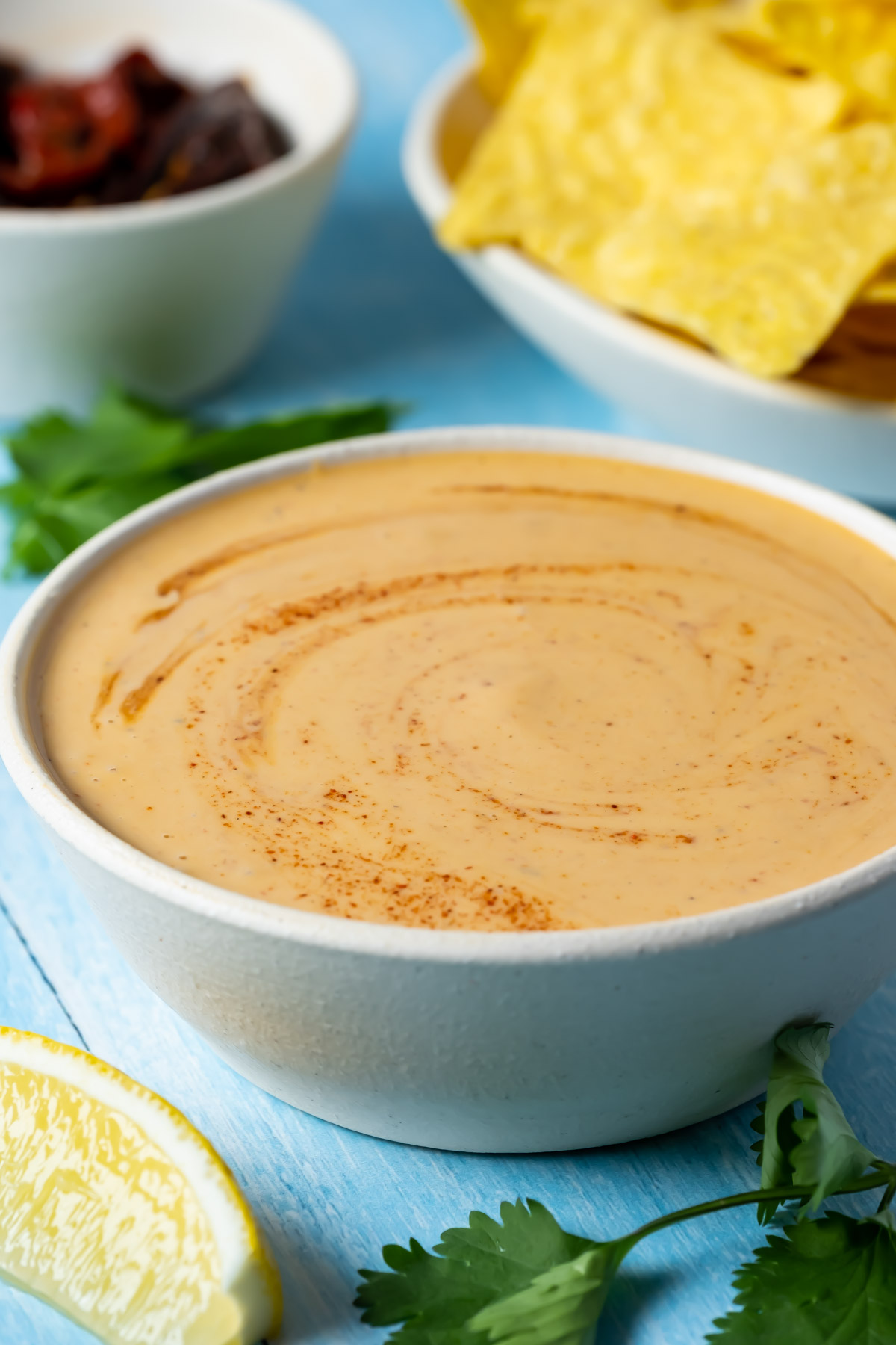 Vegan chipotle sauce in a white bowl.