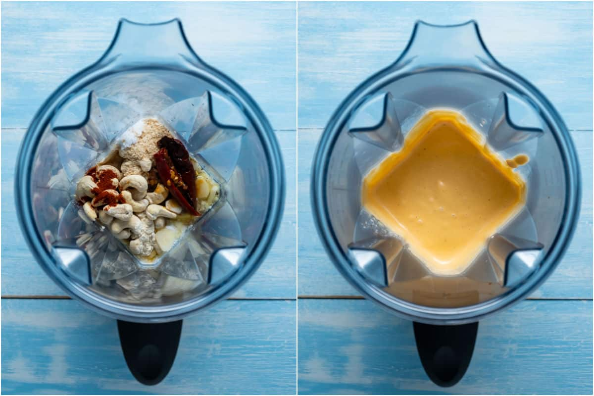 Two photo collage showing ingredients for vegan chipotle sauce in a blender before and after blending.