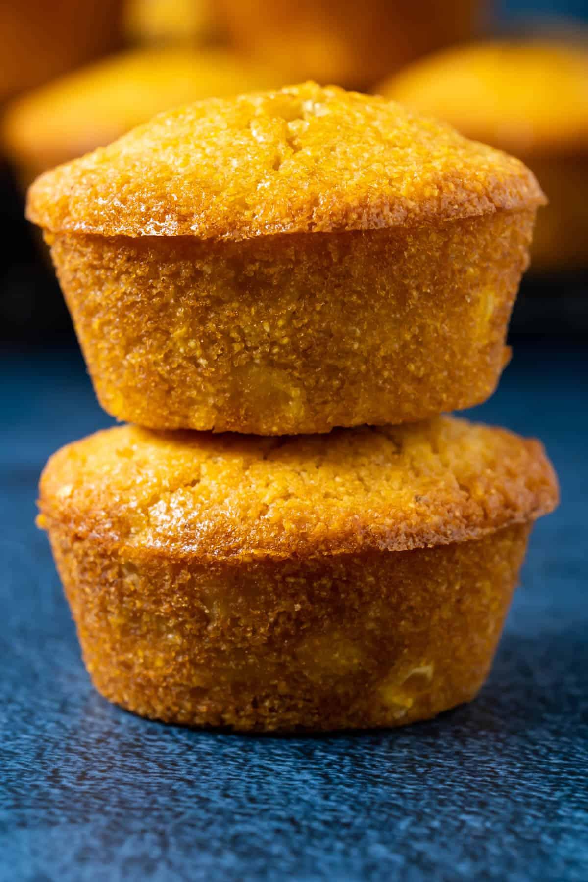 Stack of two vegan cornbread muffins